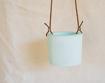 Mint cement hanging planter