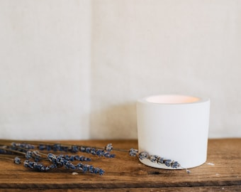 White cement planter - tealight holder