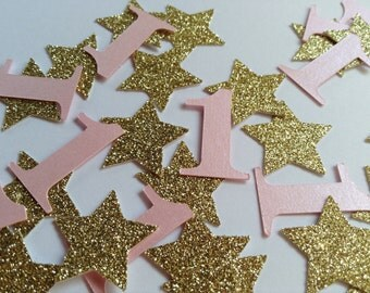 Pink and Gold 1st Birthday Confetti, Party Table Confetti, Wedding Anniversay Confetti