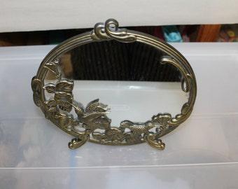 "Vintage Brass Hummingbirds & Morning Glories Design Dresser Top Mirror 9"" Round, Vanity Mirror, Home Decoration, Hangs as Well, it, Gorgeous"
