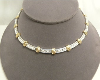 Vintage Nolan Miller Signed Rhinestone Gold & Silver Tone Necklace