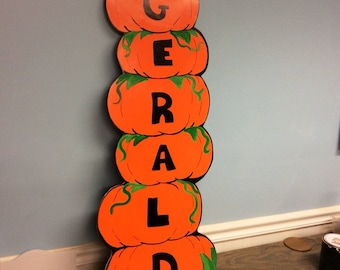 Pumpkin Sign . Fall Party Prop . Personalized Sign . Halloween Birthday sign