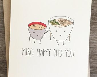 Miso Happy Pho You - Congratulations Card - Funny Congratulations - Miso - Pho