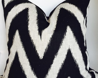 Ikat linen pillow cover - Black chevron pillow, Beige linen pillow - Black linen pillow - Kravet fabric - Modern pillow - Contemporary pillo