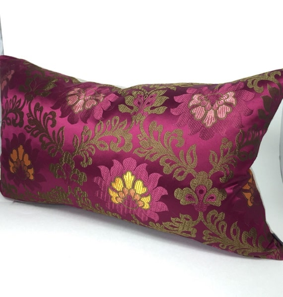 Burgundy Green Throw Pillows : Floral burgundy pillow cover Satin vintage style by InkAndLinenCo