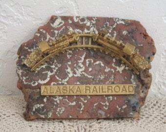 Alaska Railroad Souvenir: Miniature Replicas of Two Steam Trains on Sheep Crest Agate