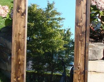 "Reclaimed Wood Rustic Handmade Mirror 24"" x 36"""