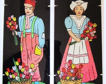 2 x Vintage Kitsch Foil and Painted Glass Pictures Wall Hangings, Dutch Boy & Girl