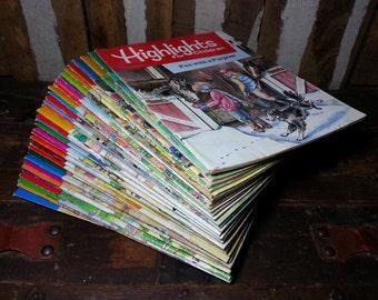 Lot of 35 Vintage 1987 1988 1989 & 1990 Highlights Magazine for School Children Educational Learning Books.