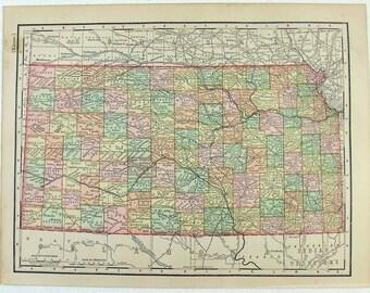 Original 1896 Map of Kansas by Rand McNally