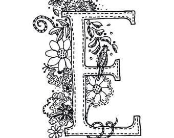 E, letter E, doodle, graphic, color in, scrapbooking, artwork, line drawing, typography