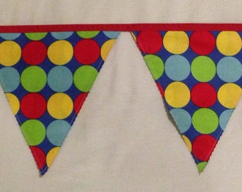 Handmade fabric bunting: blue, red, yellow and green spots - 3m of flags