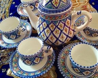 Handmade, hand painted tea set