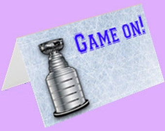 Hockey Theme Tent Cards,  Hockey Place Cards,  Printable Tent Cards, Food Labels Instant Download