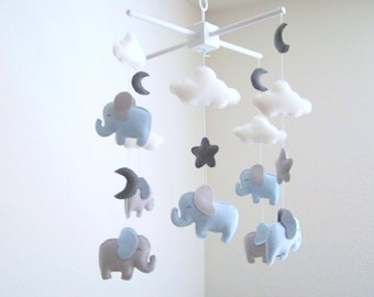 Elephant baby mobile, blue and gray baby mobile, nursery crib mobile, baby mobile, gray moon mobile cloud star mobile elephant nursery decor