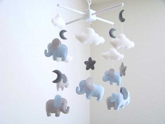 elephant baby mobile blue and gray baby mobile nursery crib. Black Bedroom Furniture Sets. Home Design Ideas