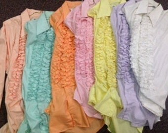 Pastel colored ruffled shirts from the 1970's