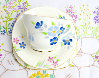 SALE SALE SALE 1930s hand painted china trios in pretty blues and pink by sutherland no. 2591 was 11.99 now 8.99