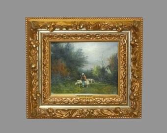19c Oil Painting Andrew Millrose Lady shepherd Female sheepherder Homeward Sheep Woman Girl