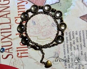 supports bracelets 10mm + cabochons en verre 10mm