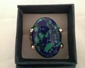 Ocean inspired blue green vintage silver plated dress ring.  UK size U/US size 10.  (BG1)