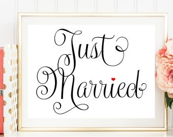 Just Married Sign, Fancy, Printable Wedding Sign, Wedding Sign Download, DIY, Wedding Signage