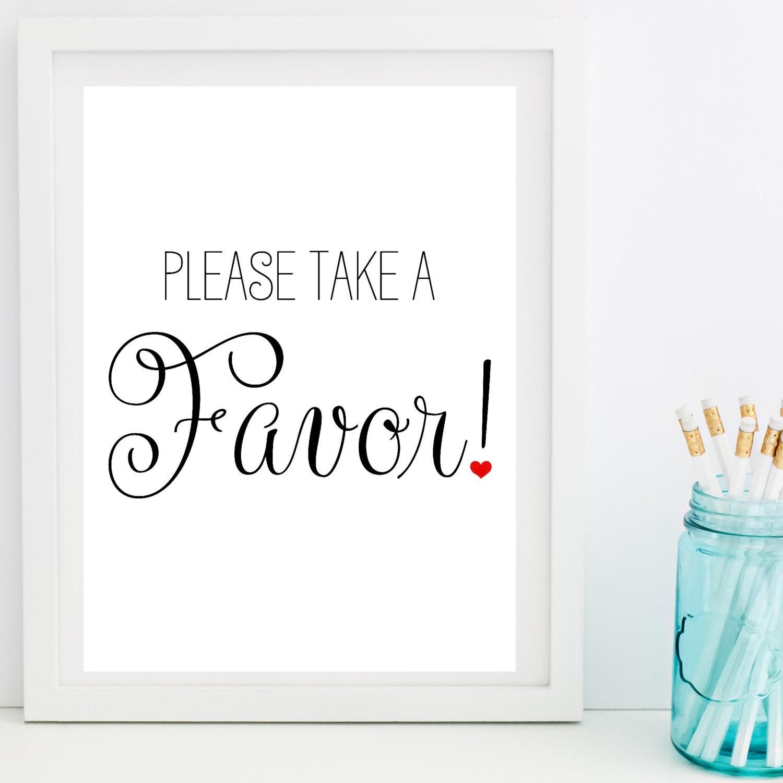 Wedding Favor Sign, Favor Sign, Wedding Signs, Printable Wedding ...