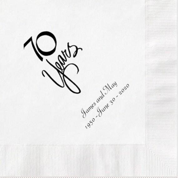 70 Year Wedding Anniversary Gifts: 70 Years 70th Wedding Anniversary Napkins Personalized Set Of