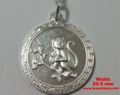 Chinese Zodiac Horoscope 999 fine Silver Round Year of Monkey Pendant charm