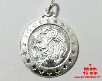 Small Chinese Zodiac Horoscope 999 fine Silver Round Year of Dragon Pendant charm
