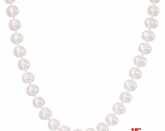 """6mm - 7mm Genuine White Freshwater Cultured AAA Quality Pearl Necklace -18"""""""