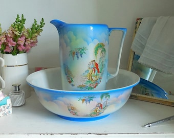 Vintage Jug and Wash Bowl, Art Deco, French Style, Wash Basin