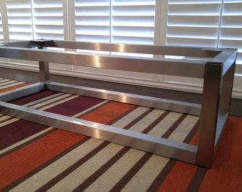 Stainless steel coffee table frame.
