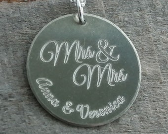 Mrs & Mrs Wedding LGBT Personalized Necklace - Engraved