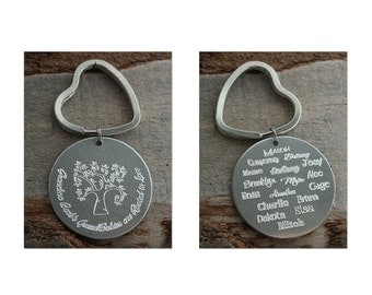 Lots of Grandkids Word Art Personalized Key Chain - Engraved