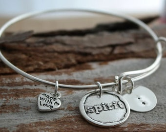 Semi Colon Awareness Mental Illness Personalized Adjustable Wire Bangle Bracelet