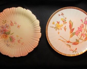 "c1890 Royal Worcester ""Ivory"" & ""Blush Ivory""  8.25"" Cabinet Plates Wild Flowers"