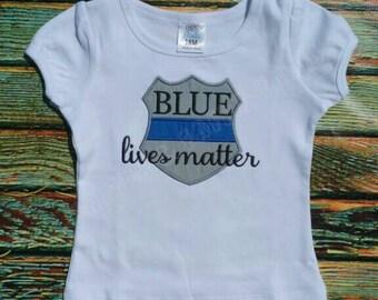 Blue Lives Matter Shirt or Bodysuit Police Officer Cop Support