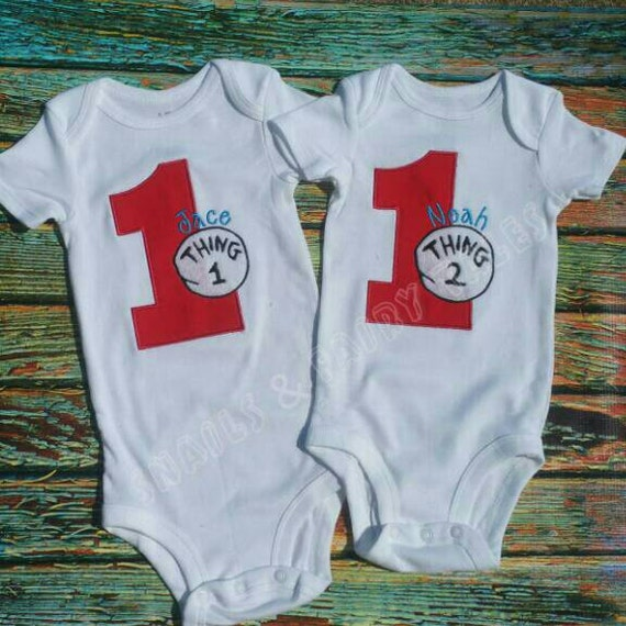 Thing 1 And Thing 2 Birthday Outfit Shirt Onesie By
