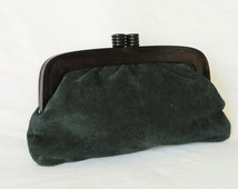 Green Suede Leather Clutch Vintage Italy Mod Depositato 60s 70s Genuine Acrylic Lucite Boho Bohemian Kisslock