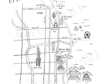 Custom Wedding Map, Chicago Wedding Map, Save the Date Wedding Map, Hand Drawn, Color or Black and White, Any Location, Calligraphy