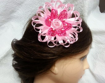 Bridal Hair Clip, Pink and White Flower Clip, Wedding Hair Flower Piece, Wedding Hair Accessories, Flower Hair Clip, Bridesmaid Hair Piece