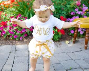 Pink & Gold Polka Dot First Birthday Bloomer Outfit with knotted headband, 1st Birthday Bloomer Outfit
