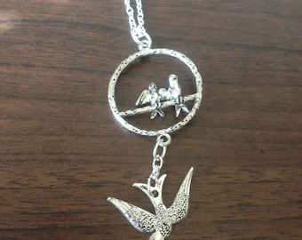 SALE- Silver Swallow Necklace