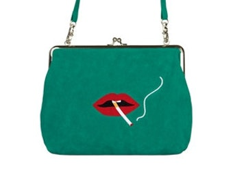 French flannel metal frame purse - Lips
