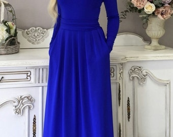 Royal Blue Maxi Women Dress Long Sleeves Pockets