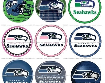 "63 Ct. Seattle Seahawks Scrapbooking Bottle Cap 1"" Stickers Set - Adhesive"