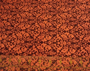 Destash- Orange And Brown Damask Fabric Remnant For Quilting Or Crafting