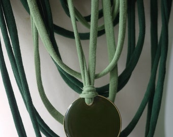 Upcycled t-shirt scarf: Green's with simple pendant [367]