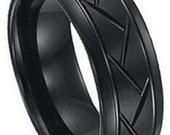 Tire Ring Pattern Black Tungsten  FREE SHIPPING